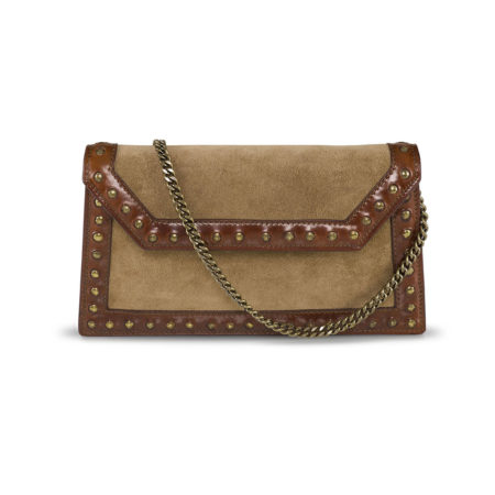 W08 - Studded pochette in suede